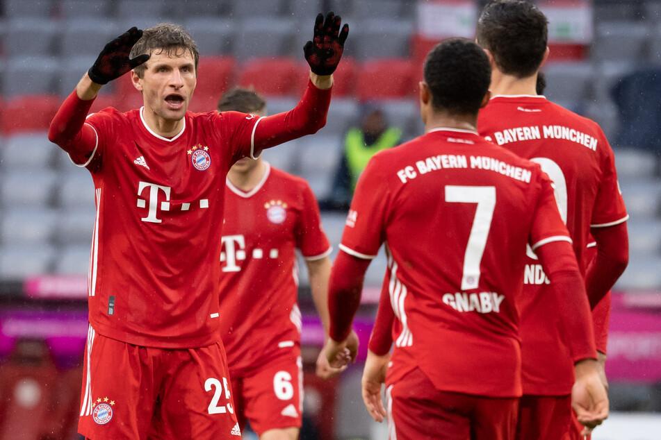 Thomas Müller (l.) hatte allen Grund zur Freude: Der Akteur des FC Bayern München konnte gegen die TSG 1899 Hoffenheim einen Treffer feiern.
