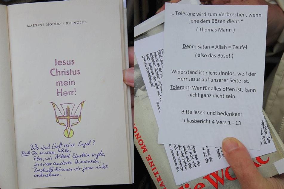 """Links: Handschriftlich sind die religiösen Botschaften in die Werke hineingeschrieben. Rechts: """"Satan=Allah=Teufel"""": Von Religionsfreiheit hält der Verfasser offenbar  wenig."""