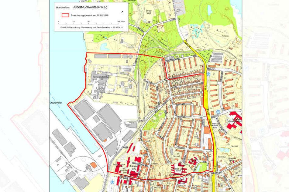 Der rot umrandete Bereich soll am Freitag evakuiert werden.