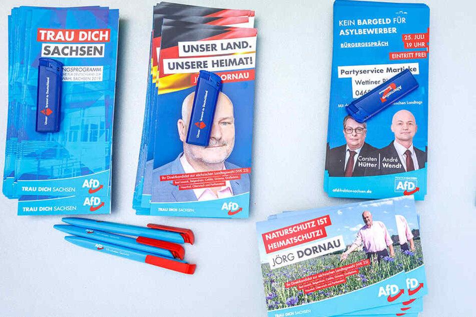 AfD zum Mitnehmen. Mit diesen kleinen Wahlkampf-Geschenken wirbt die Partei für sich. In der Mitte oben eine Forderung zum Thema Asyl.