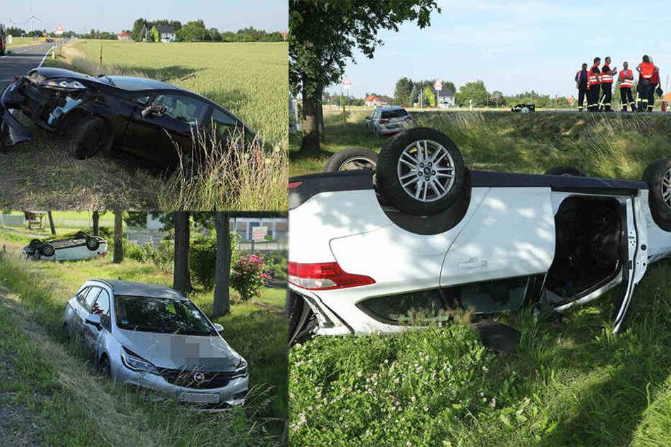 B173 nach extremem Crash 3,5 Stunden gesperrt: Drei Autos kollidieren heftig