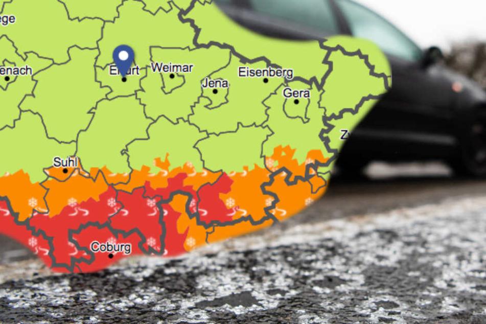 Besonders im Süden Thüringens kann es sehr glatt werden.