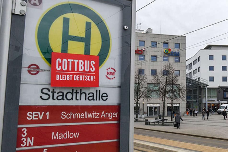 """Ein Aufkleber mit der Aufschrift """"Cottbus bleibt deutsch!"""" ist an einer Haltestelle vor der Cottbuser Stadthalle zu sehen."""