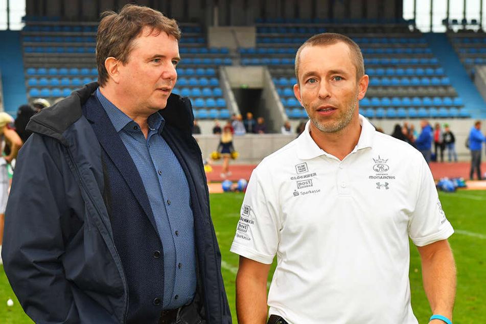 Monarchs-Präsident Sören Glöckner mit Geschäftsführer Jörg Dreßler (r.).