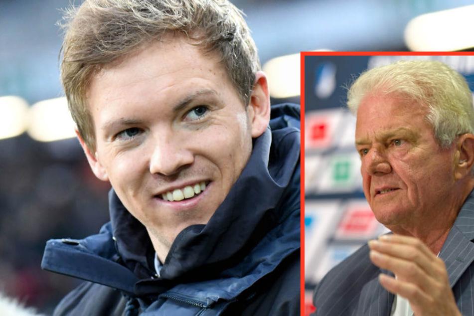 Dietmar Hopp (kleines Bild) will noch eineinhalb Saisons mit Trainer Julian Nagelsmann (großes Bild) feiern.