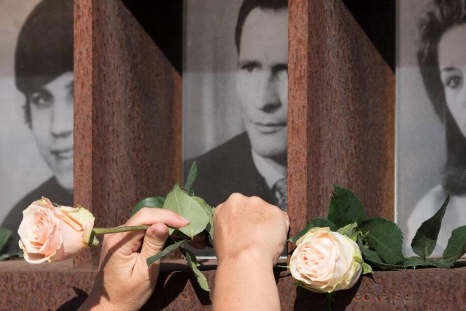 Blumen werden an einer Stele für die Opfer des kommunistischen Grenzregimes der ehemaligen DDR auf dem Gelände der Gedenkstätte Berliner Mauer an der Bernauer Straße niedergelegt.