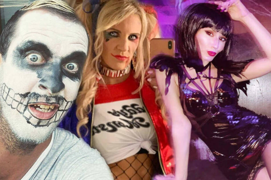Pascal Hens (von links), Alicia Melina und Anneta Negare haben sich zu Halloween gruselig verkleidet. (Fotomontage)