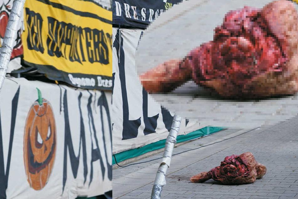 20. August 2016: Beim DFB-Pokalspiel Dynamo-RB Leipzig landet ein blutiger Kuhkopf im Innenraum des Stadions.