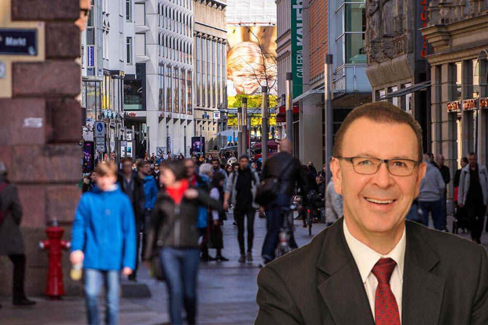 In der Grimmaischen Straße dürfen Fahrradfahrer nur zeitweise radeln. CDU-Stadtrat Achim Haas fordert, dass der Stadtordnungsdienst entsprechende Verstöße ahnden darf.