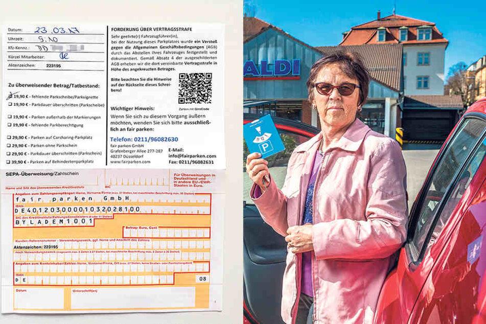 Rentnerin Helga Dikta (69) vergaß beim 5-Minuten-Einkauf in der Aldi-Filiale  an der Tharandter Straße die Parkscheibe, soll dafür fast 20 Euro Strafe  blechen.