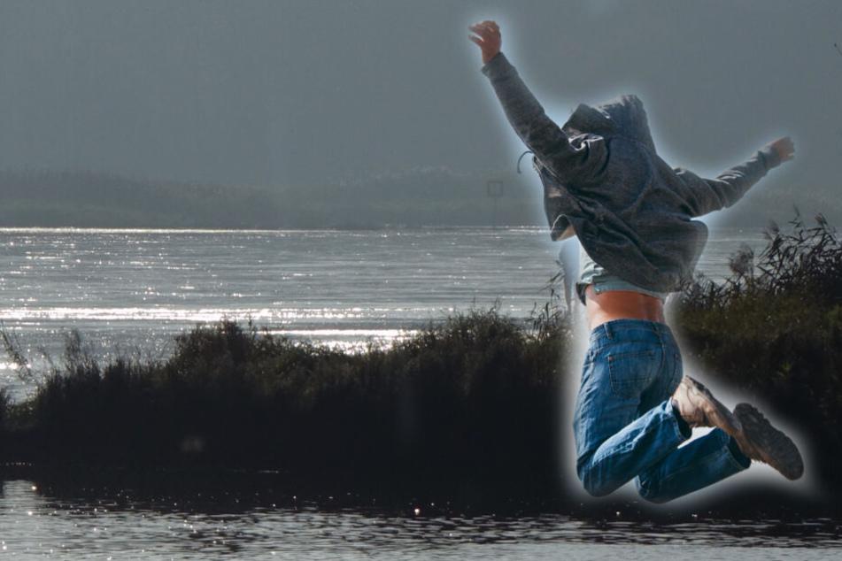 Mann wird von Polizei kontrolliert, plötzlich springt er in einen Fluss