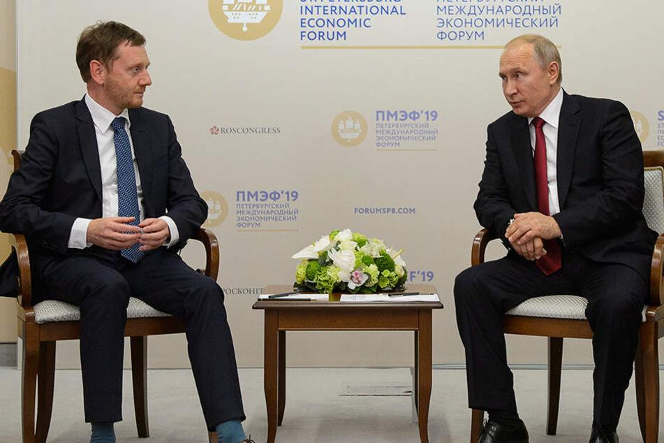 MP Kretschmer im Gespräch mit Wladimir Putin (66).