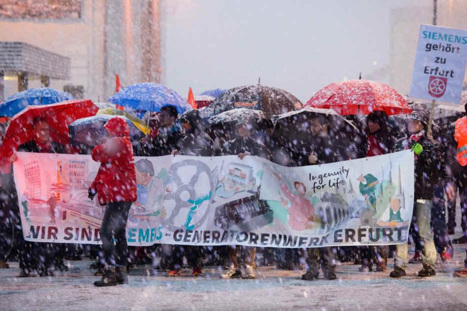 Auch die Beschäftigten des Erfurter Siemens-Werkes beteiligten sich an den Protesten.