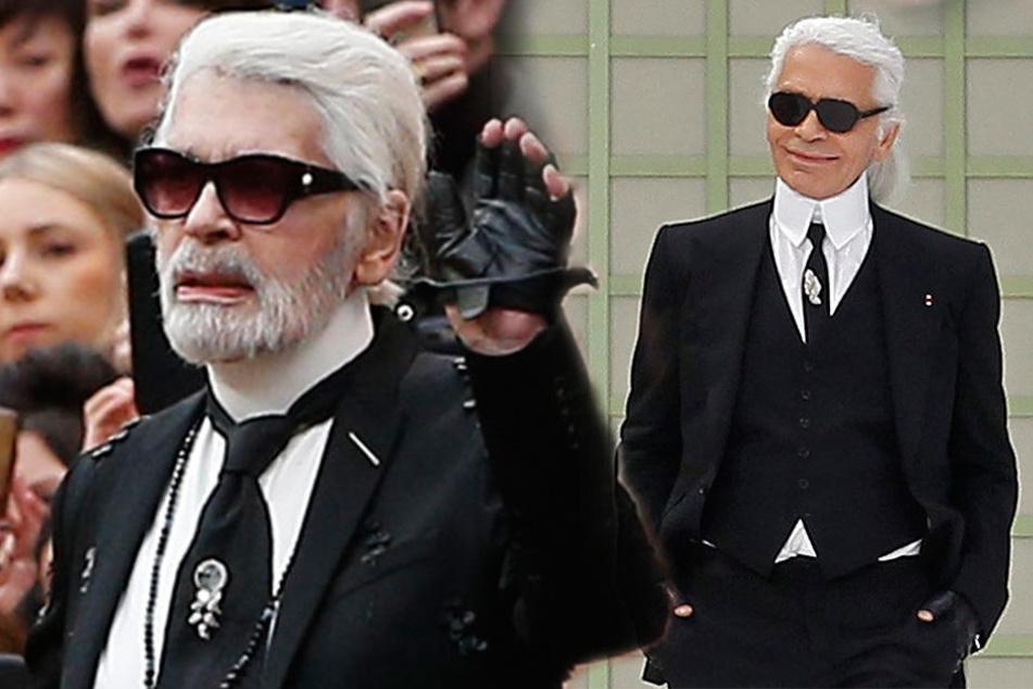 Der deutsche Modedesigner Karl Lagerfeld trägt neuerdings einen weißen Bart.