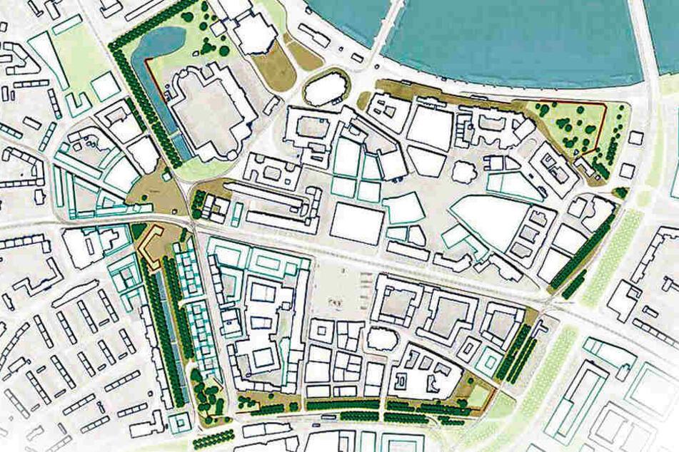 Über den Ring der alten Stadtbefestigung könnte künftig eine moderne  Grünanlage verlaufen.