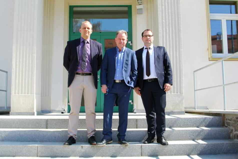Diese drei Herren sollen das neue Abhörzentrum zum Laufen bringen: Chef-Techniker Stephan Glaser (v.l.), Vorstands-Chef Ulf Lehmann und Verwaltungsleiter Markus Pannwitz.