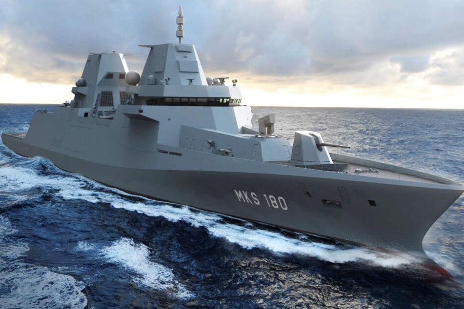 """Die Grafik zeigt das Kampfschiff """"MKS 180"""" auf dem Meer schwimmen."""