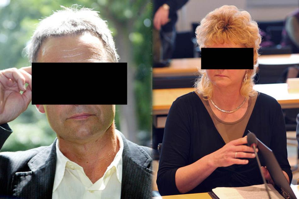 Die Angeklagten: Hauptkommissar Georg W. (61) und Simone H. (58).