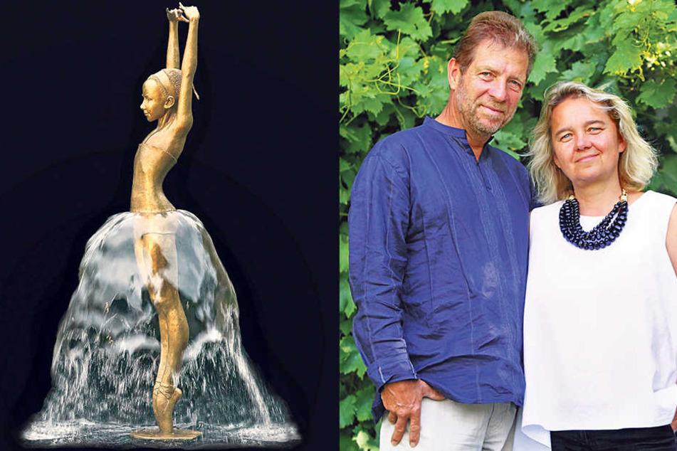 Die Skulpturen von Bildhauerin Malgorzata Chodakowska (52) zieren auch die Etiketten der Weine ihres Mannes Klaus Zimmerling (58).