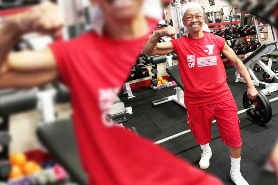 Willie Murphy (82) zeigt gern, wie stark sie ist.