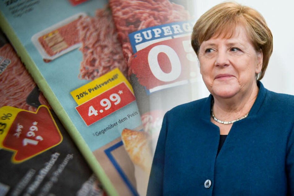 Im Kampf gegen Billig-Angebote für Lebensmittel lädt Angela Merkel zum Gipfel-Treffen ins Kanzleramt. (Bildmontage)
