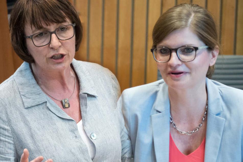 SPD-Fraktionsvize in NRW, Sarah Philipp (re.), und NRW-Grünen-Fraktionschefin Monika Düker verlangen Aufklärung.