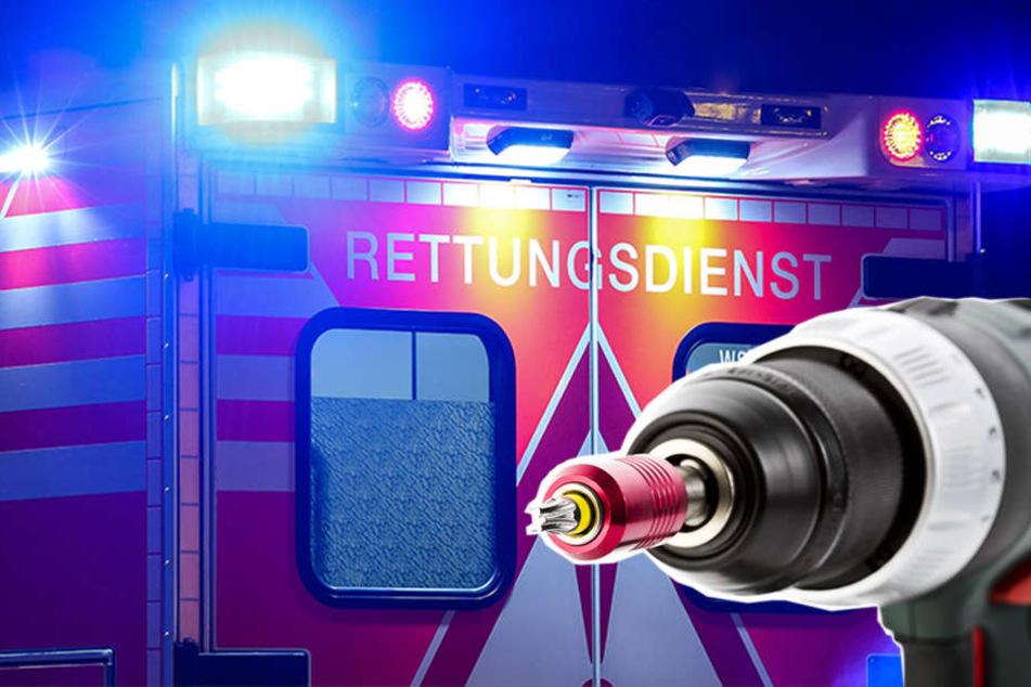 Ein 55-Jähriger wurde durch einen Akkubohrer schwer verletzt.
