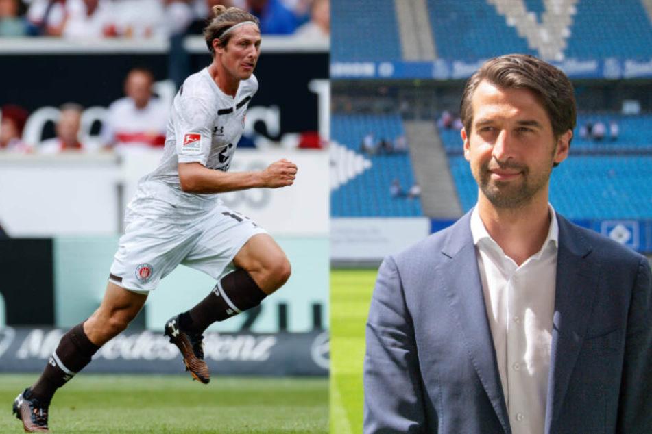 St.-Pauli-SpielerDaniel Buballa (links) und HSV-Sportvorstand Jonas Boldt freuten sich über die Lose.