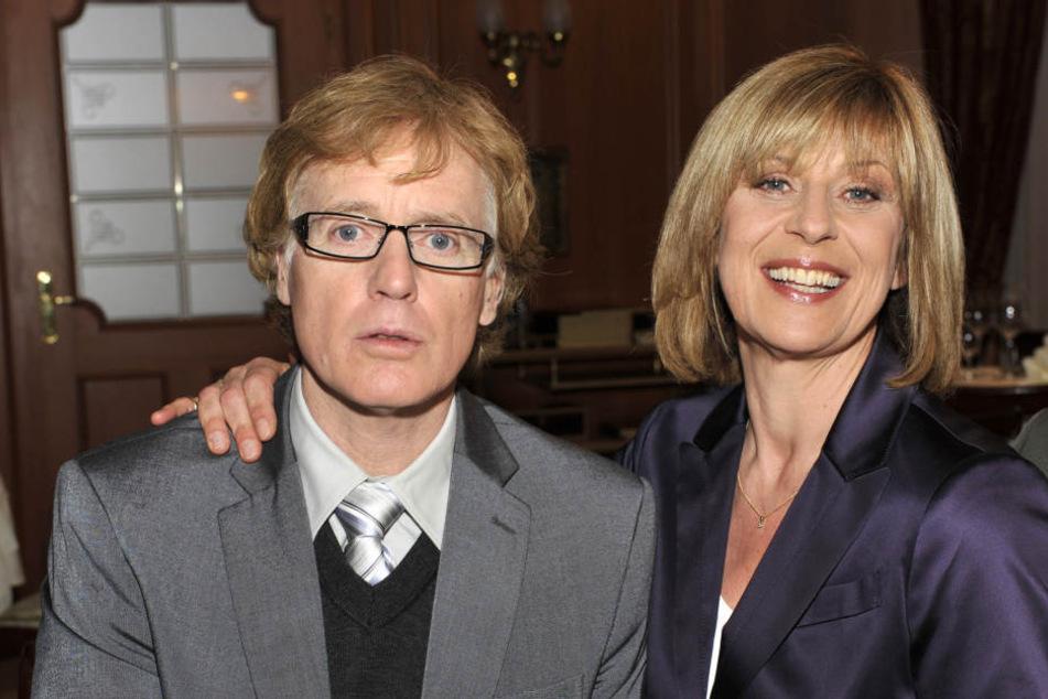 Mona Seefeld mit ihrem Schauspielkollegen Albert Fortell, der in einer Gastrolle den Unternehmensberater Dr. Wolfgang Degen spielte.