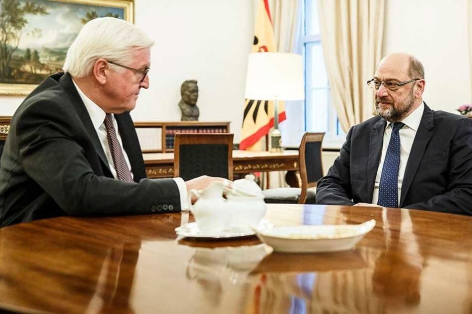 SPD-Chef Martin Schulz (re.) im Gespräch mit Bundespräsidenten Frank-Walter Steinmeier.