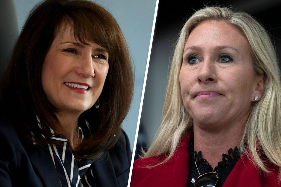Congresswomen Marie Newman (l.) and Marjorie Taylor Greene are at odds on the subject of LGBTQ rights.