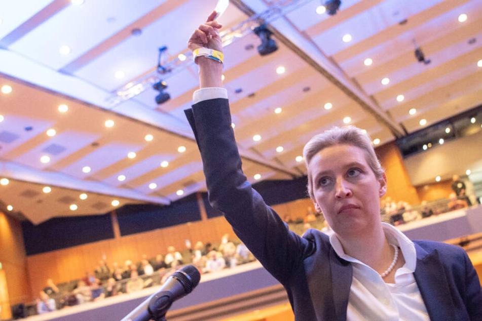 Alice Weidel, AfD-Fraktionsvorsitzende im Bundestag, hält beim AfD-Sonderparteitag ihre Stimmkarte nach oben.