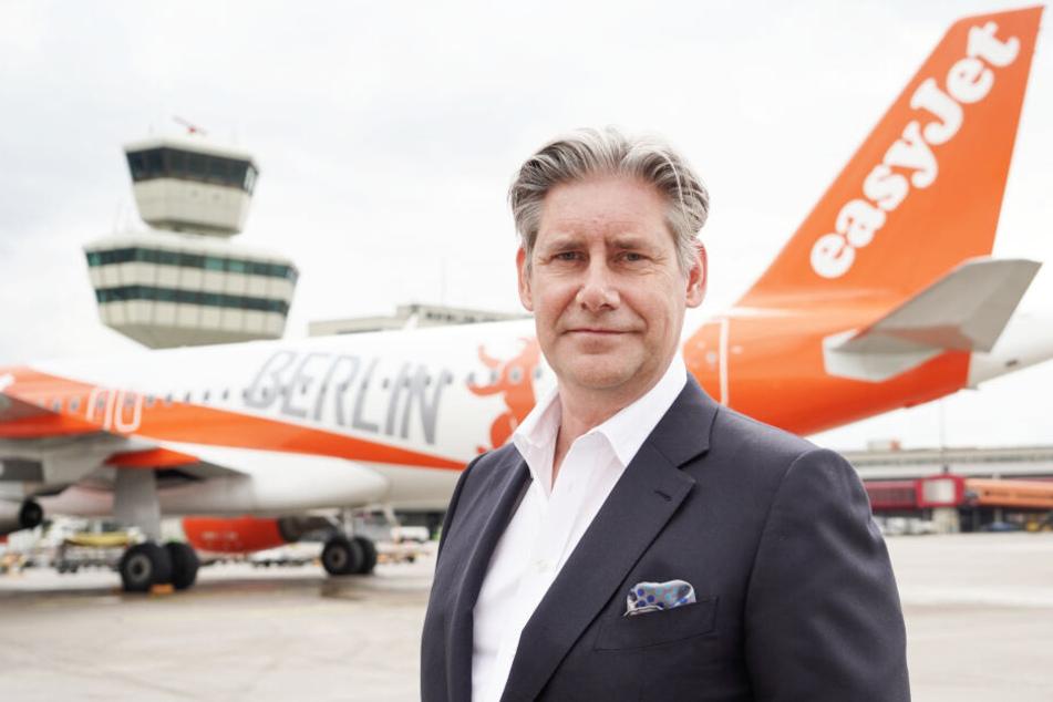 Easyjet-Geschäftsführer Johan Lundgren am Flughafen Berlin Tegel.