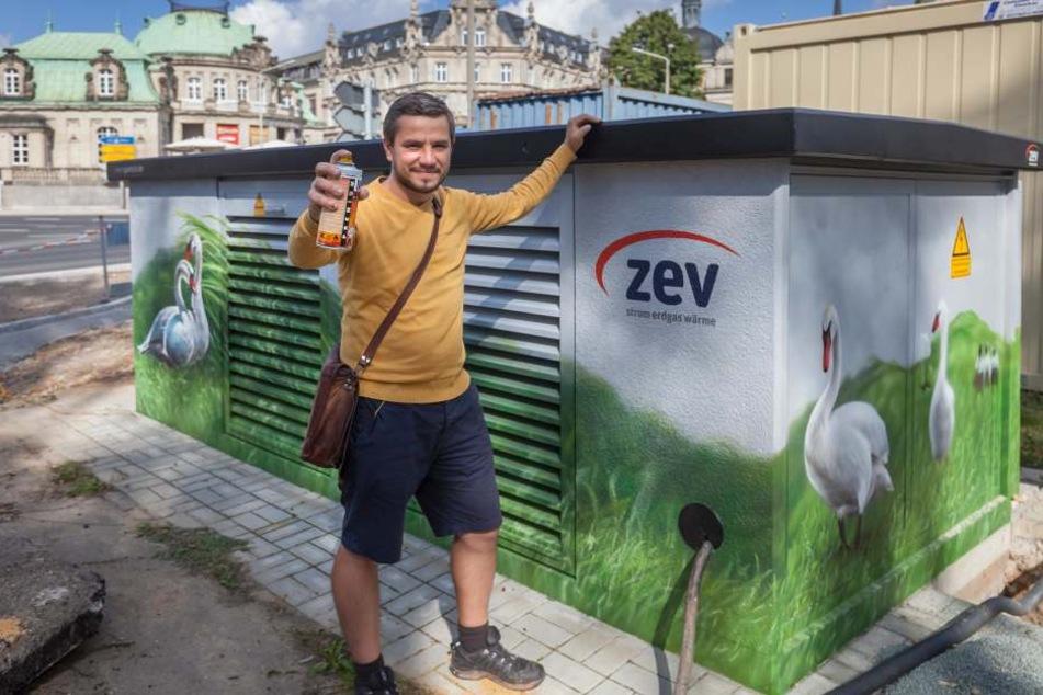 Graffiti-Künstler Sven Gerisch sprühte im Auftrag der ZEV bunte Motive für Zwickau.