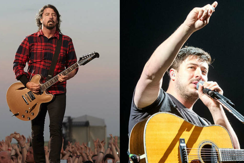 Die Foo Fighters (links) und die Band Mumford & Sons treten ebenfalls als Headlines auf.
