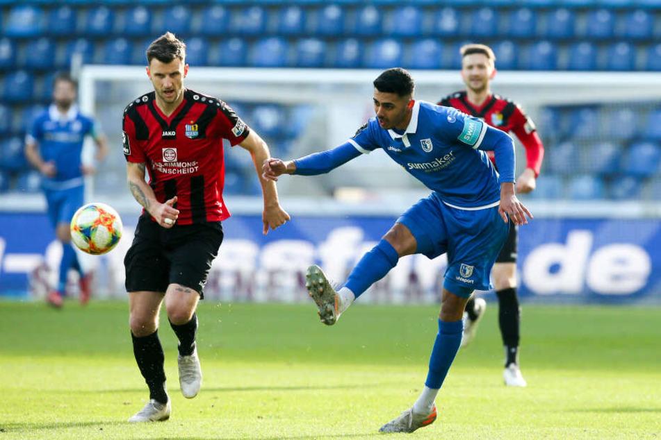 CFC-Torjäger Dejan Mozic (mit Magdeburgs Tarek Chahed) sorgte für die 1:0-Führung.