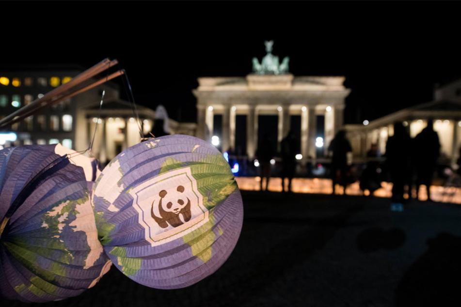 Beleuchtete Lampignons mit dem Logo des WWF sind am 19.03.2016 vor dem Brandenburger Tor in Berlin während der Aktion zu sehen.