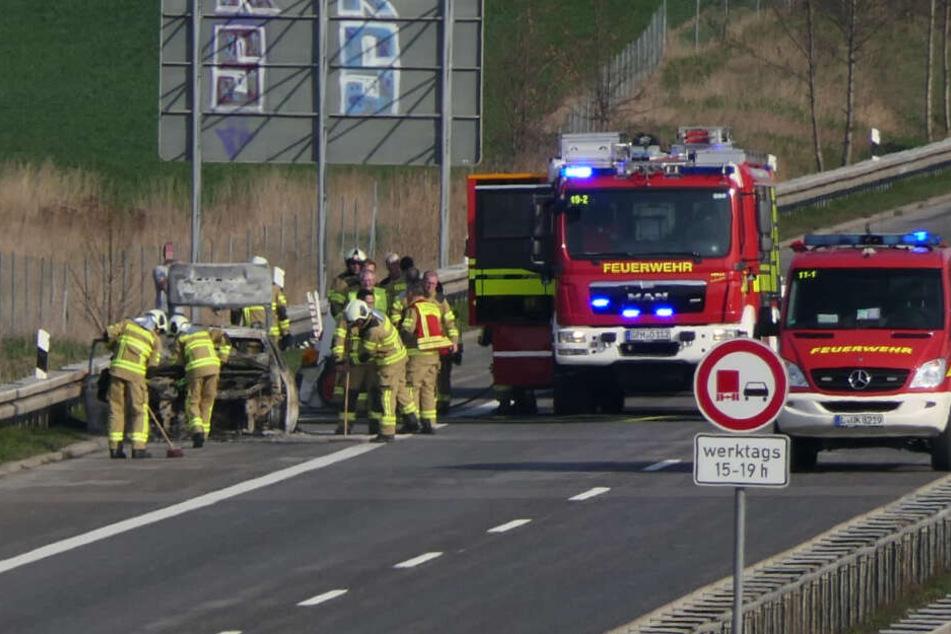 Auf der A14 bei Klinga brannte am Donnerstag ein Auto aus.
