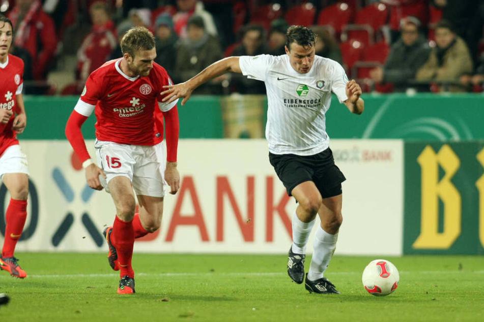 Heute vor sieben Jahren: Der heutige Co-Trainer Marc Hensel (r.) verlor mit Aue bei Erstligist Mainz mit Jan Kirchoff 0:2.