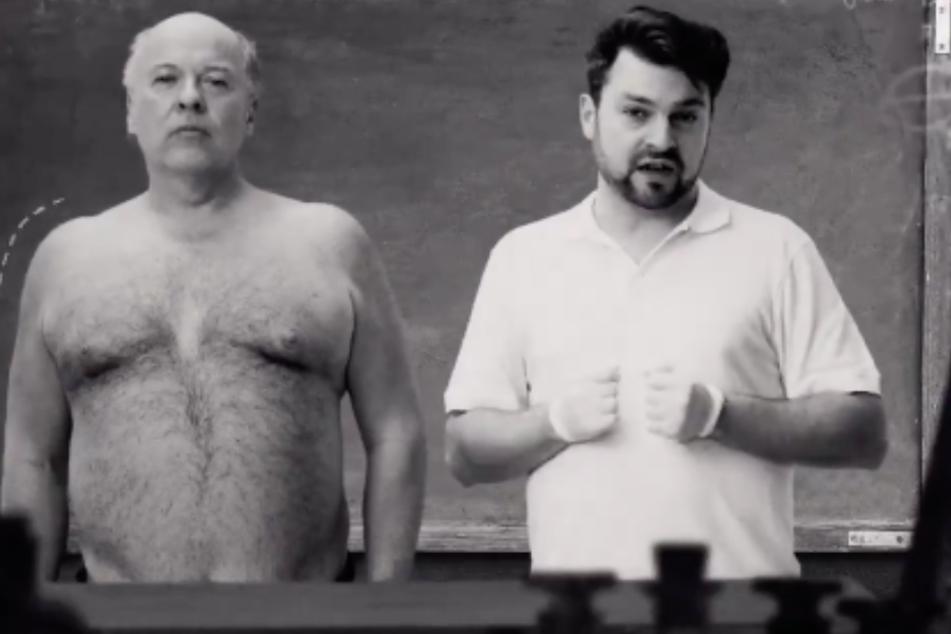 Silberstein (rechts) redet in dem Clip auch über Menschen mit Herz-Kreislauf-Erkrankungen. (Screenshot)