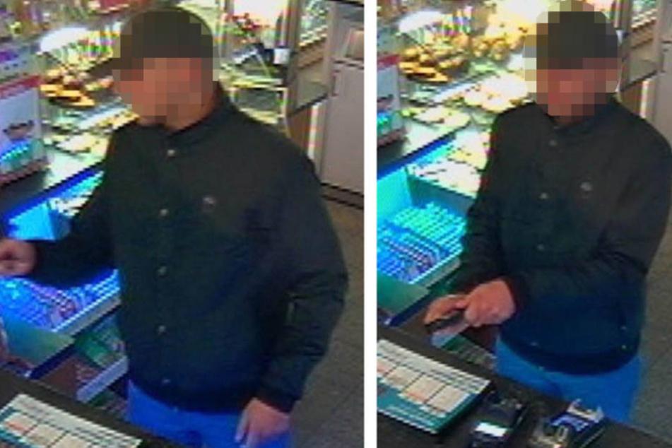 Dieser Mann bedrohte den Mitarbeiter an der Kasse mit einer Schusswaffe.