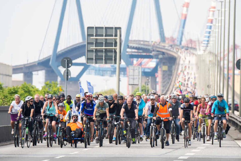 Teilnehmer einer Fahrradsternfahrt fahren mit ihren Fahrrädern über die Köhlbrandbrücke.