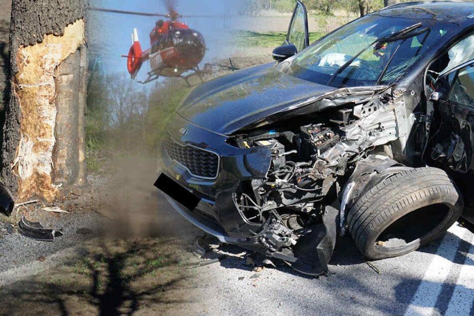 Frau kracht mit Kia gegen Baum: Hubschrauber muss Verletzte in Klinik bringen