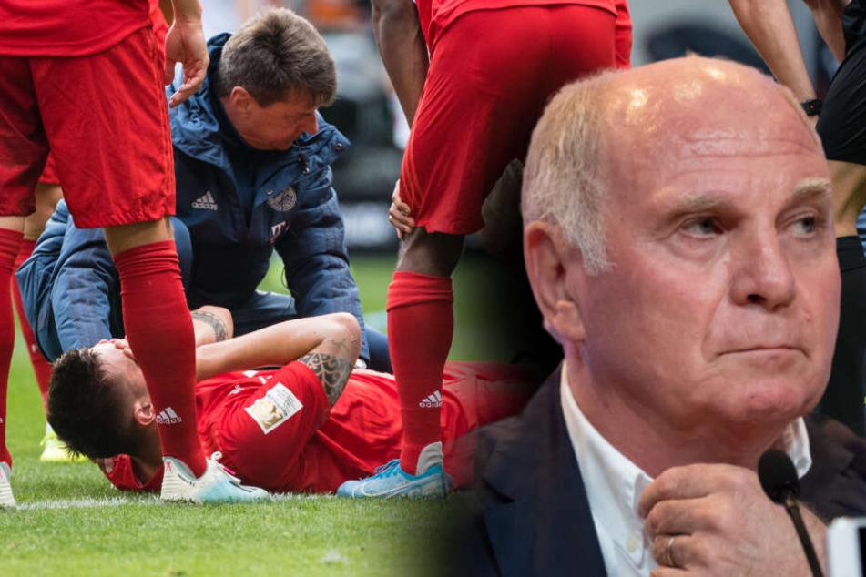 Uli Hoeneß, Präsident des FC Bayern München, sieht nach der Verletzung keine Chance mehr für Niklas Süle (l) in der Europameisterschaft. (Bildmontage)