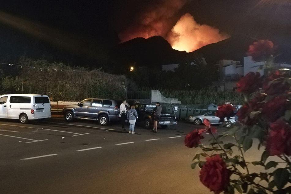 Flammen breiten sich bei einem Waldbrand in Valleseco auf der Insel Gran Canaria aus.