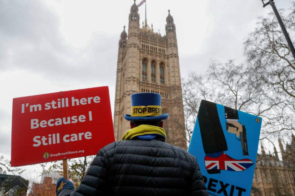 Steve Bray, Aktivist und Gegner des Brexit aus Großbritannien, protestiert mit Plakaten vor dem britischen Parlament nach der feierlichen Wiedereröffnung des britischen Parlaments.