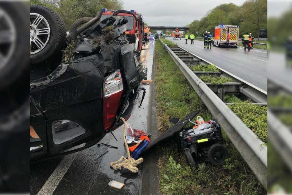 Der Mann verursachte einen Unfall auf der A1.