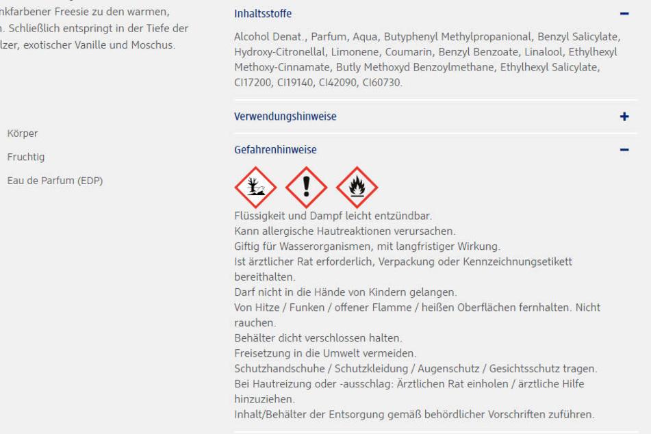 Auf der Homepage von dm sind diese Warnhinweise zu lesen.