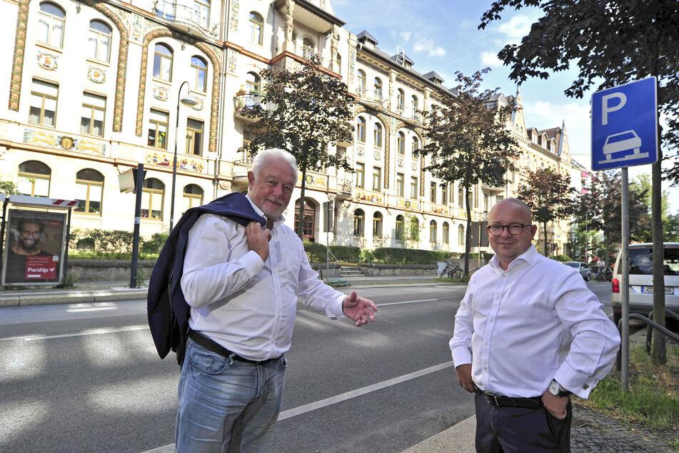 Wolfgang Kubicki (68, FDP, l.) ließ sich von Frank Müller-Rosentritt (38, FDP) den Kaßberg zeigen.