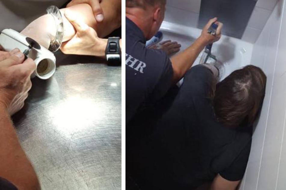 Da sich die Frau nicht mehr selbst helfen konnte, musste sie von der Feuerwehr aus der misslichen Lage befreit werden.